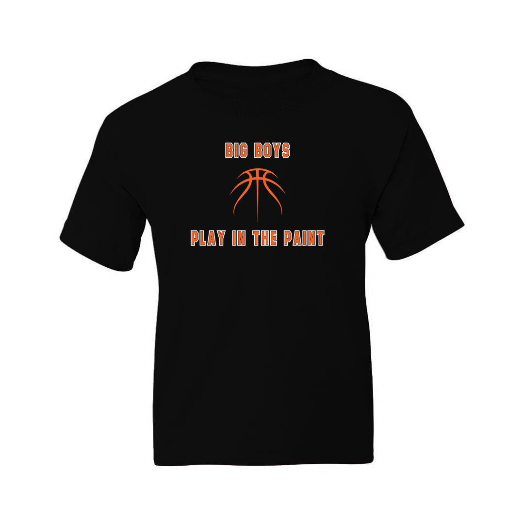 91febdeb Big Boys Play In The Paint Basketball Kids T Shirt Black Front