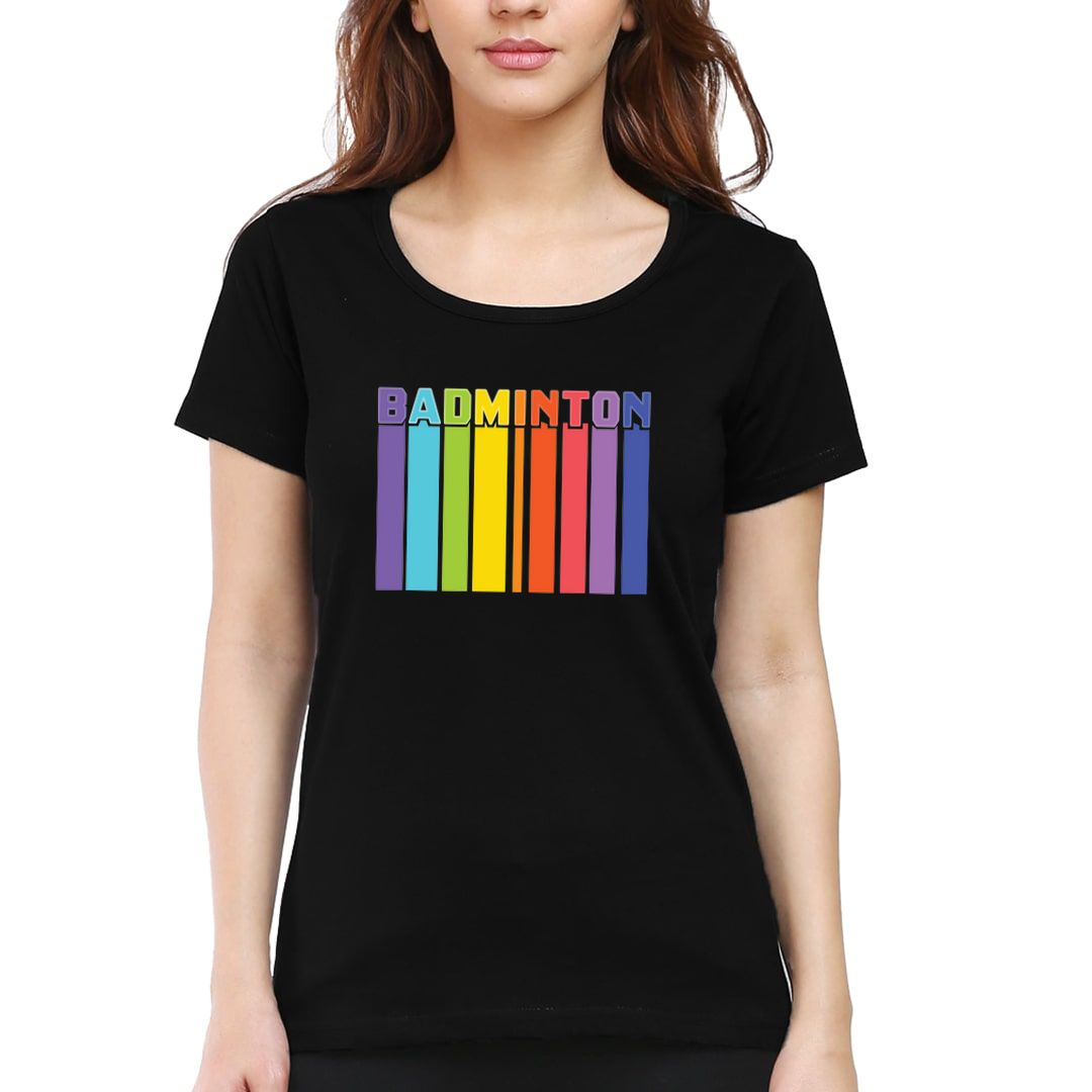 930f7734 Badminton Tall And Colourful Women T Shirt Black Front