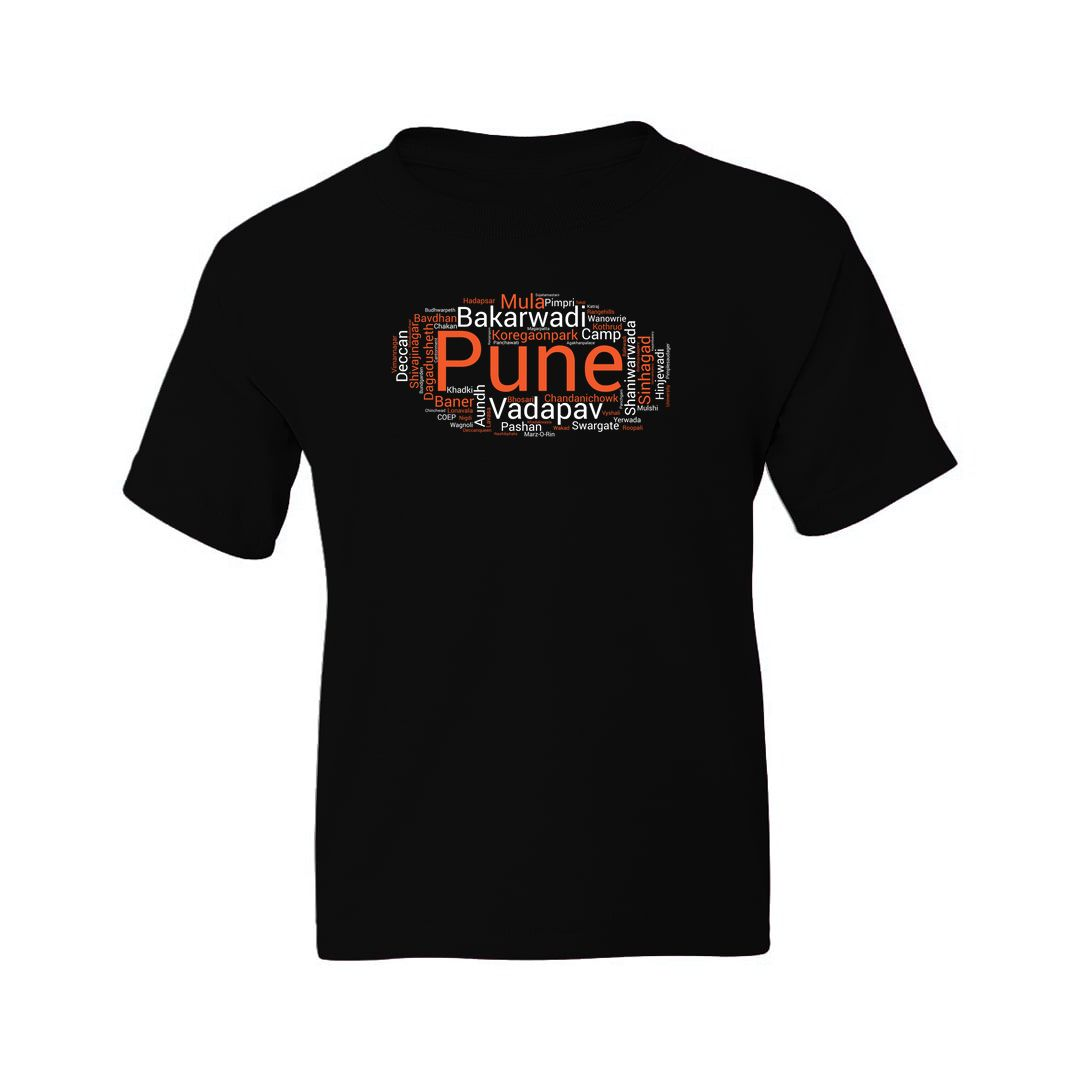 94087221 Pune Places Foods And Attractions Kids T Shirt Black Front