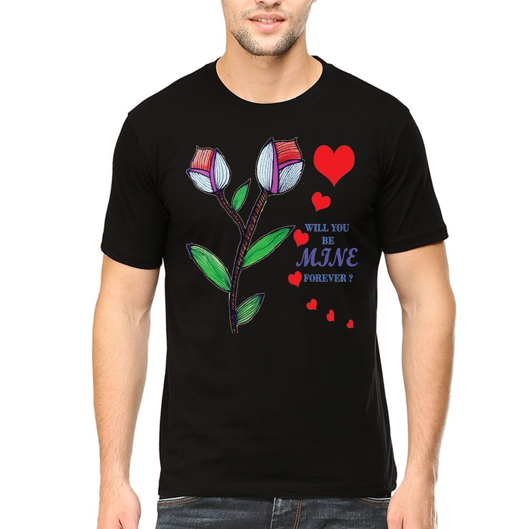 9714f2bb Will You Be Mine Forever For Your Loved Ones Men T Shirt Black Front
