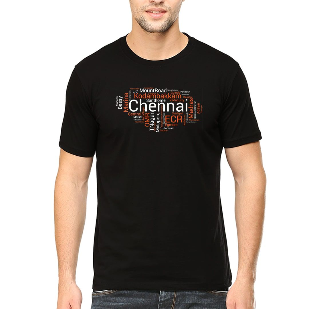 9765bd5d Chennai Places Foods And Attractions Word Cloud Men T Shirt Black Front
