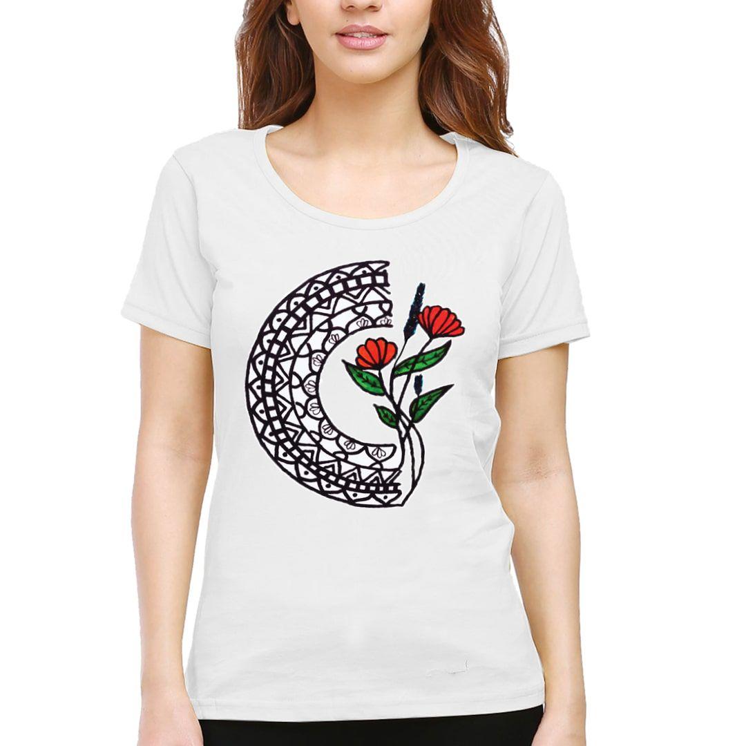 98d31b62 Mandala Floral Women T Shirt White Front