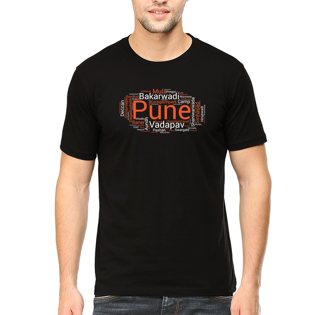 9949f217 Pune Places Foods And Attractions Men T Shirt Black Front