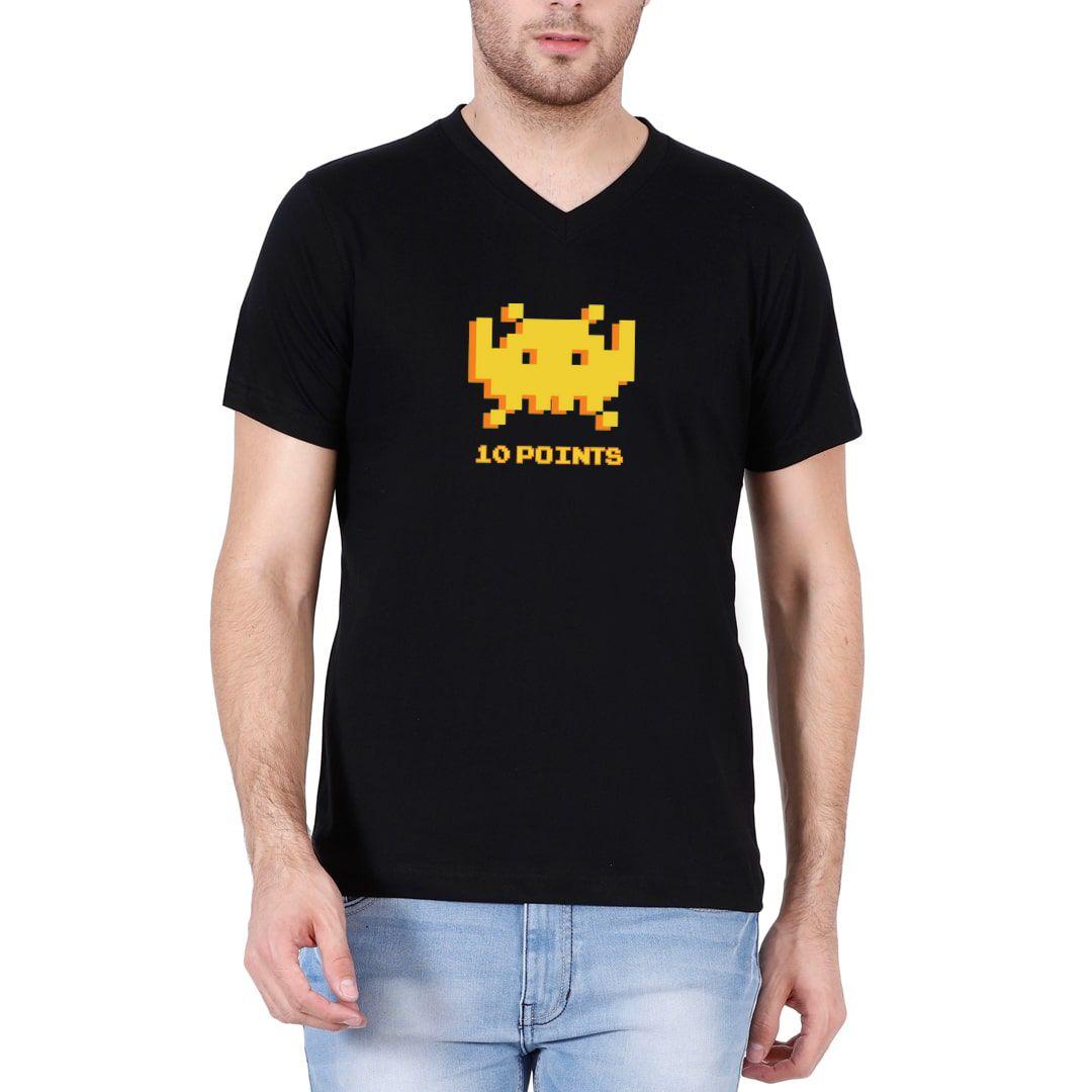 A74a6655 8 Bit Gamer Men V Neck T Shirt Black Front
