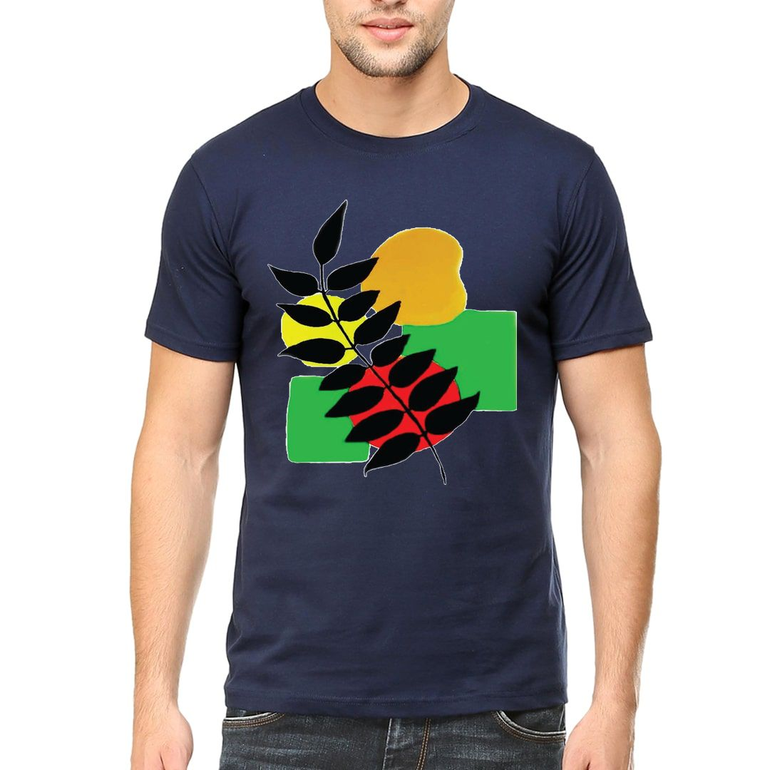 A789627e Leaf Pattern Signifies Natures Beauty Men T Shirt Navy Front