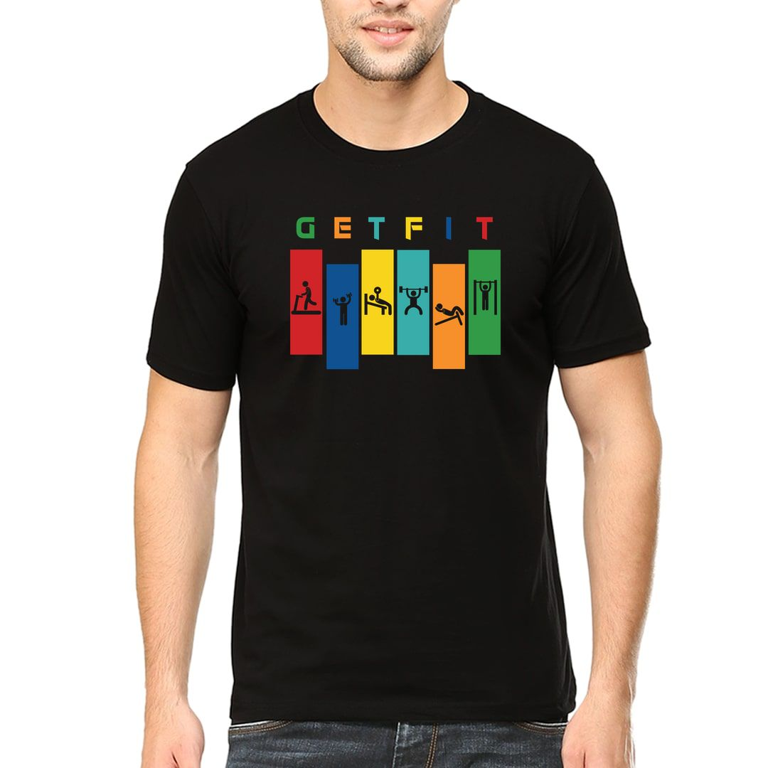 A95de0ee Get Fit Men T Shirt Black Front