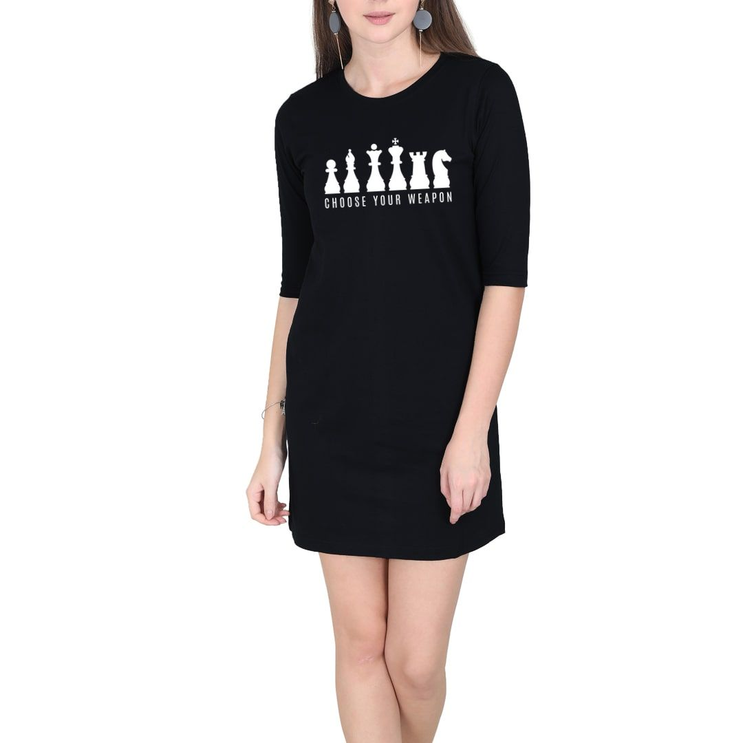 Aacbbfcf Choose Your Weapons Women T Shirt Dress Black Front