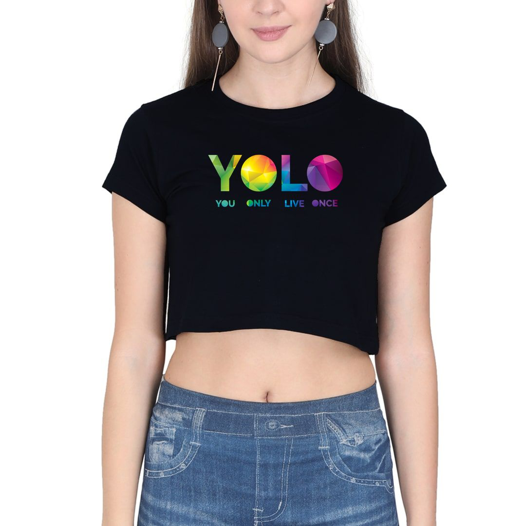 B0d7fc65 Yolo – You Only Live Once Women Crop Top Black Front