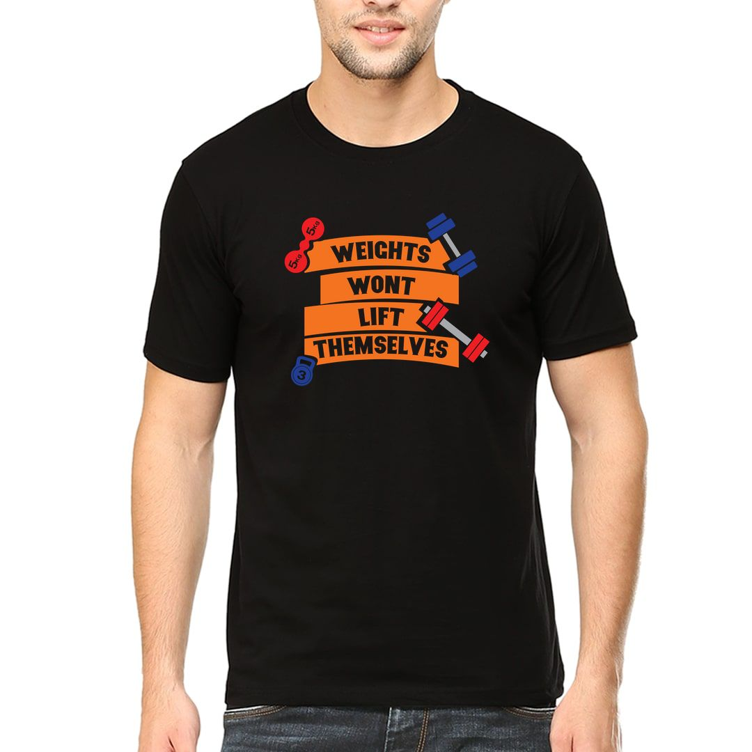 B4ae9a7f Weights Wont Lift Themselves Men T Shirt Black Front