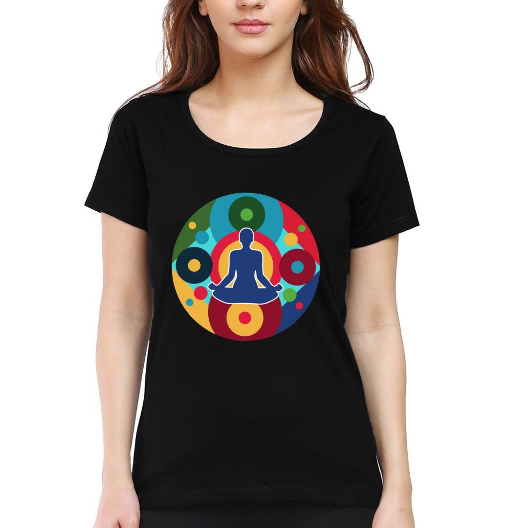 B5a9b30a Yoga Chakras Women T Shirt Black Front