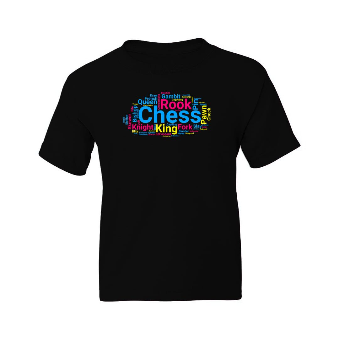 Ba68192d Chess Pieces Moves And Terminology Word Cloud Kids T Shirt Black Front