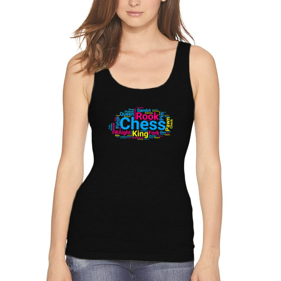 Bda95197 Chess Pieces Moves And Terminology Word Cloud Women Tank Top Black Front