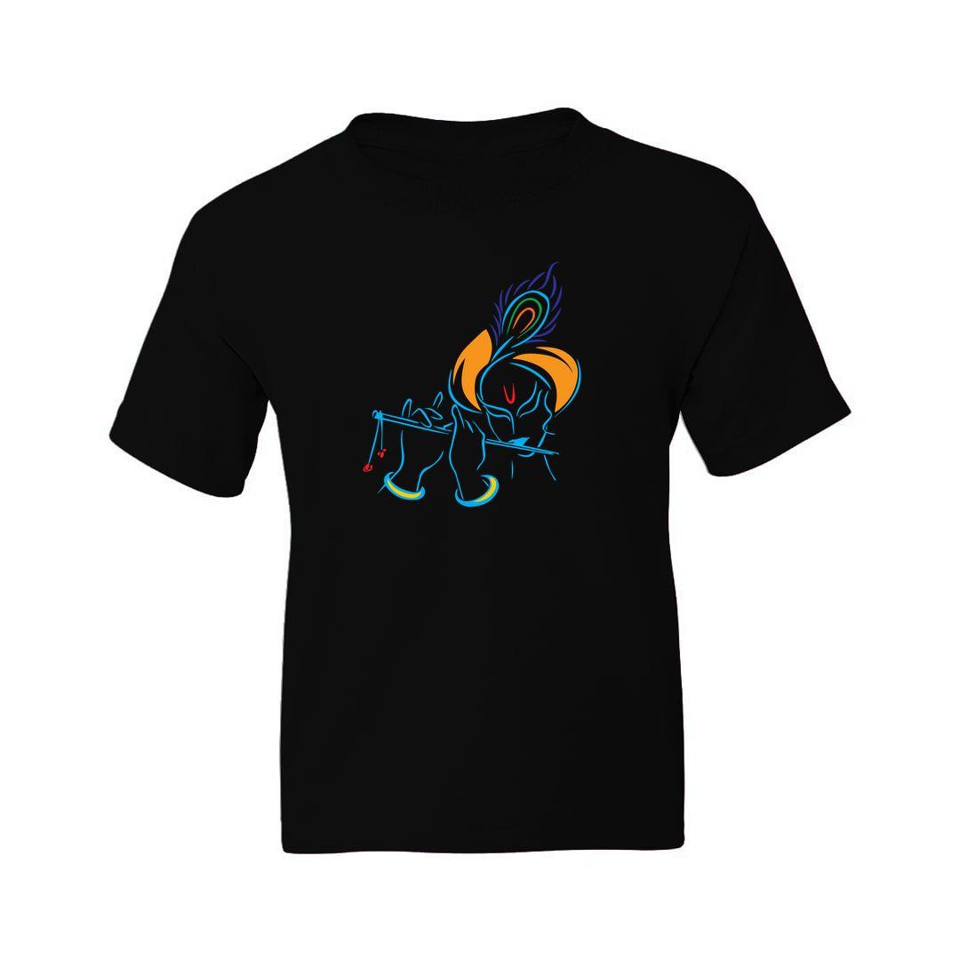 C6764c9a Krishna Playing Flute Line Drawing Kids T Shirt Black Front