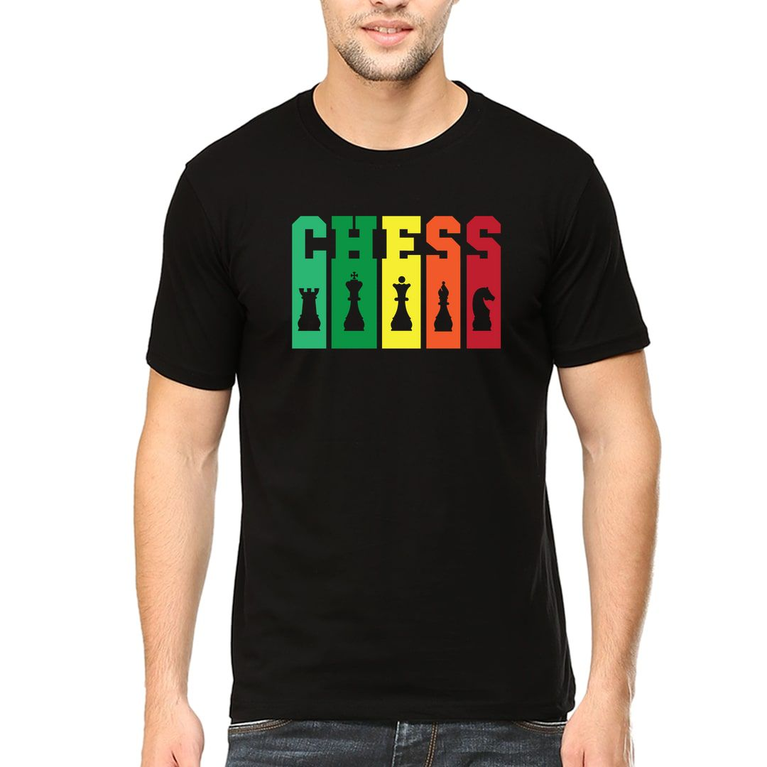 C7e97bac Chess Tall And Colourful Men T Shirt Black Front