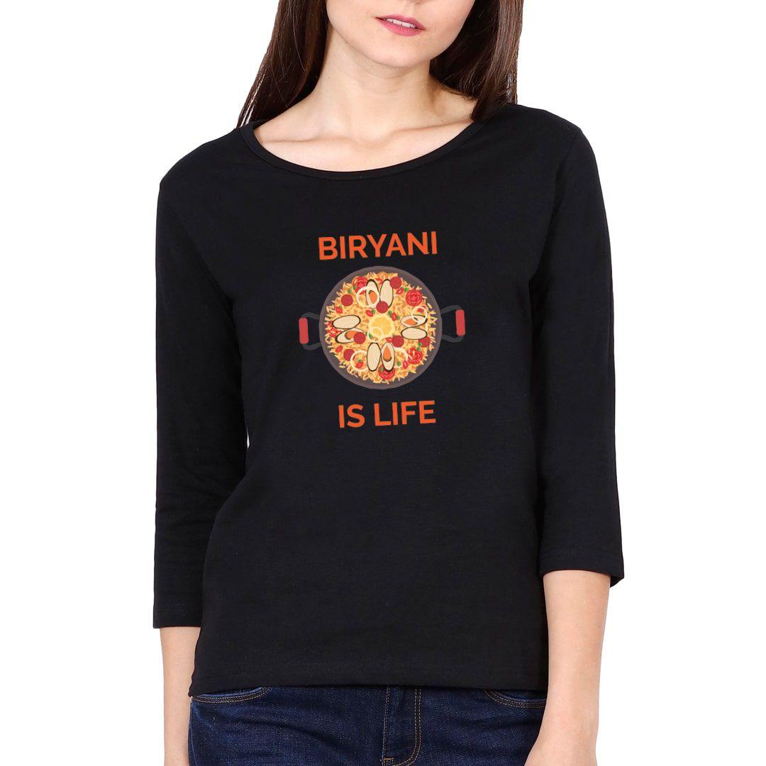 Ca2907e3 Biryani Is Life Elbow Sleeve Women T Shirt Black Front