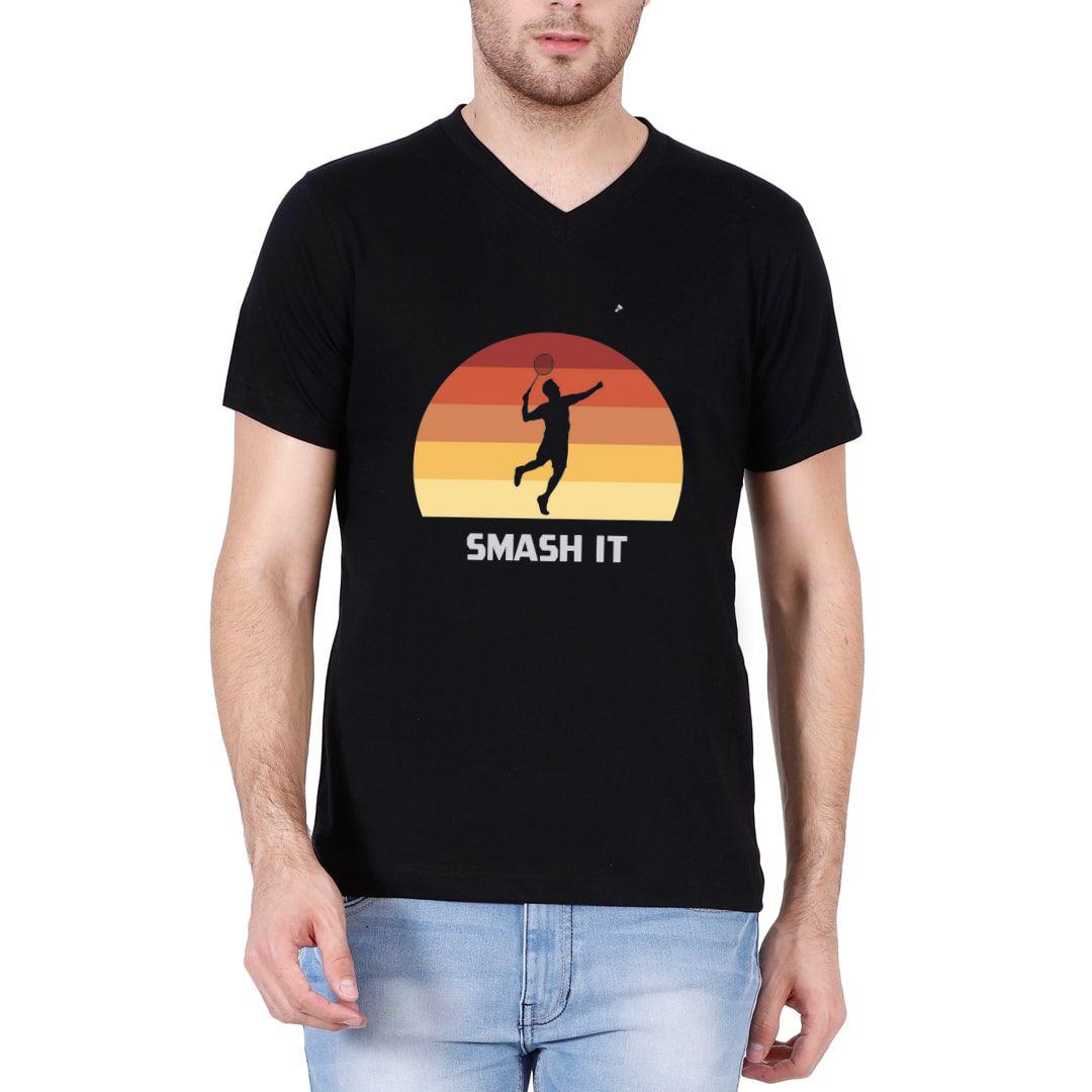 Ce61c213 Smash It Retro Vintage Style Men V Neck T Shirt Black Front