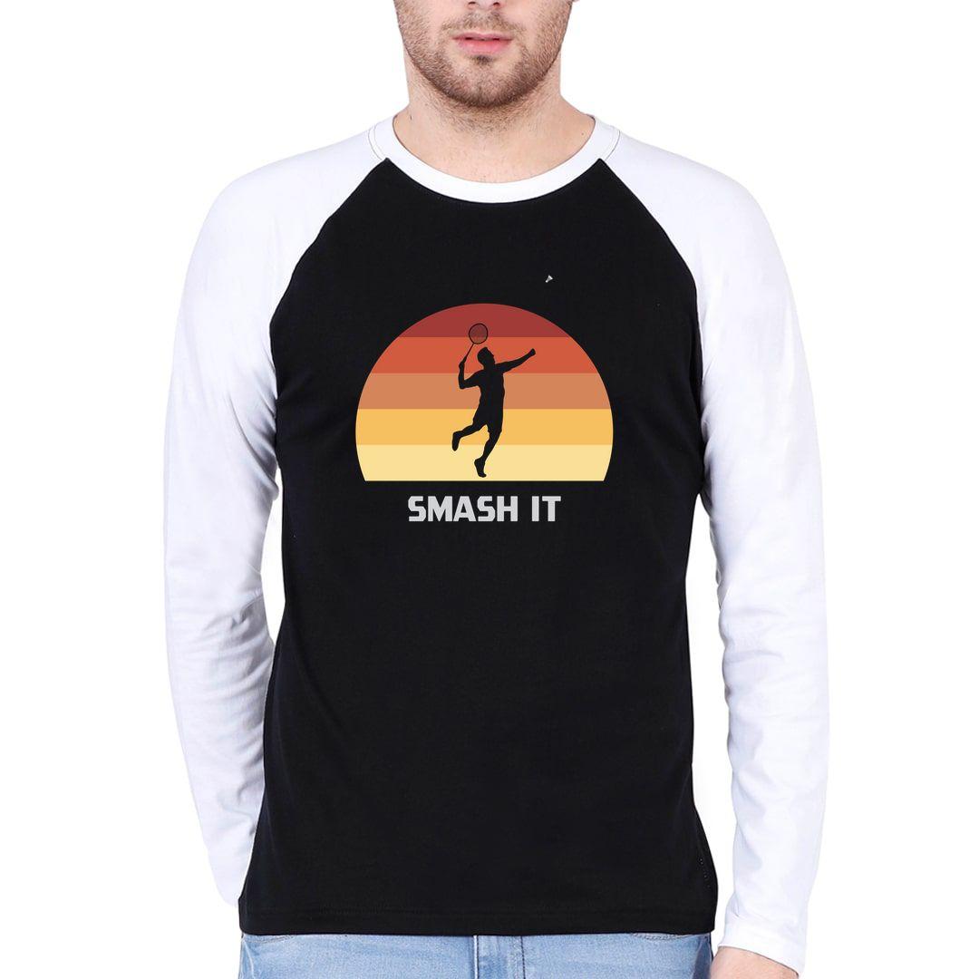 Ce65538c Smash It Retro Vintage Style Men Raglan Full Sleeve T Shirt White Black Front