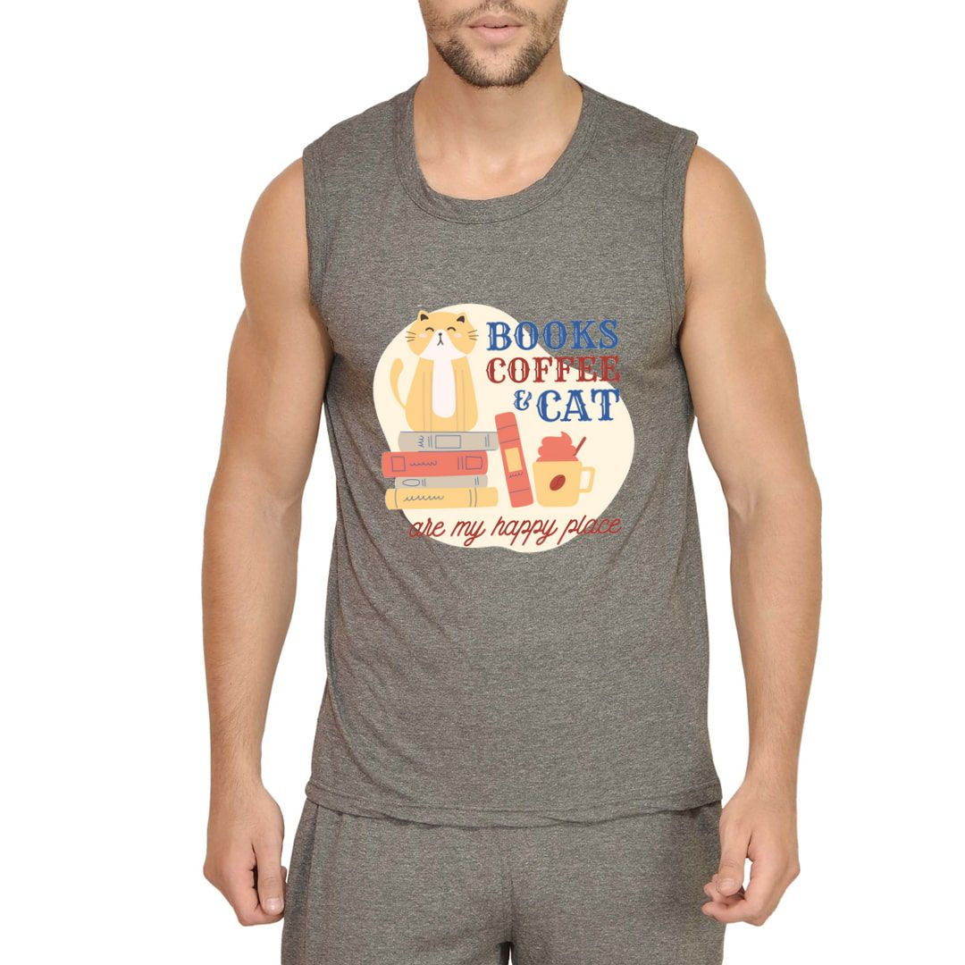 D1b07d1f Books Coffee And Cat Are My Happy Places Men Sleeveless T Shirt Vest Charcoal Front
