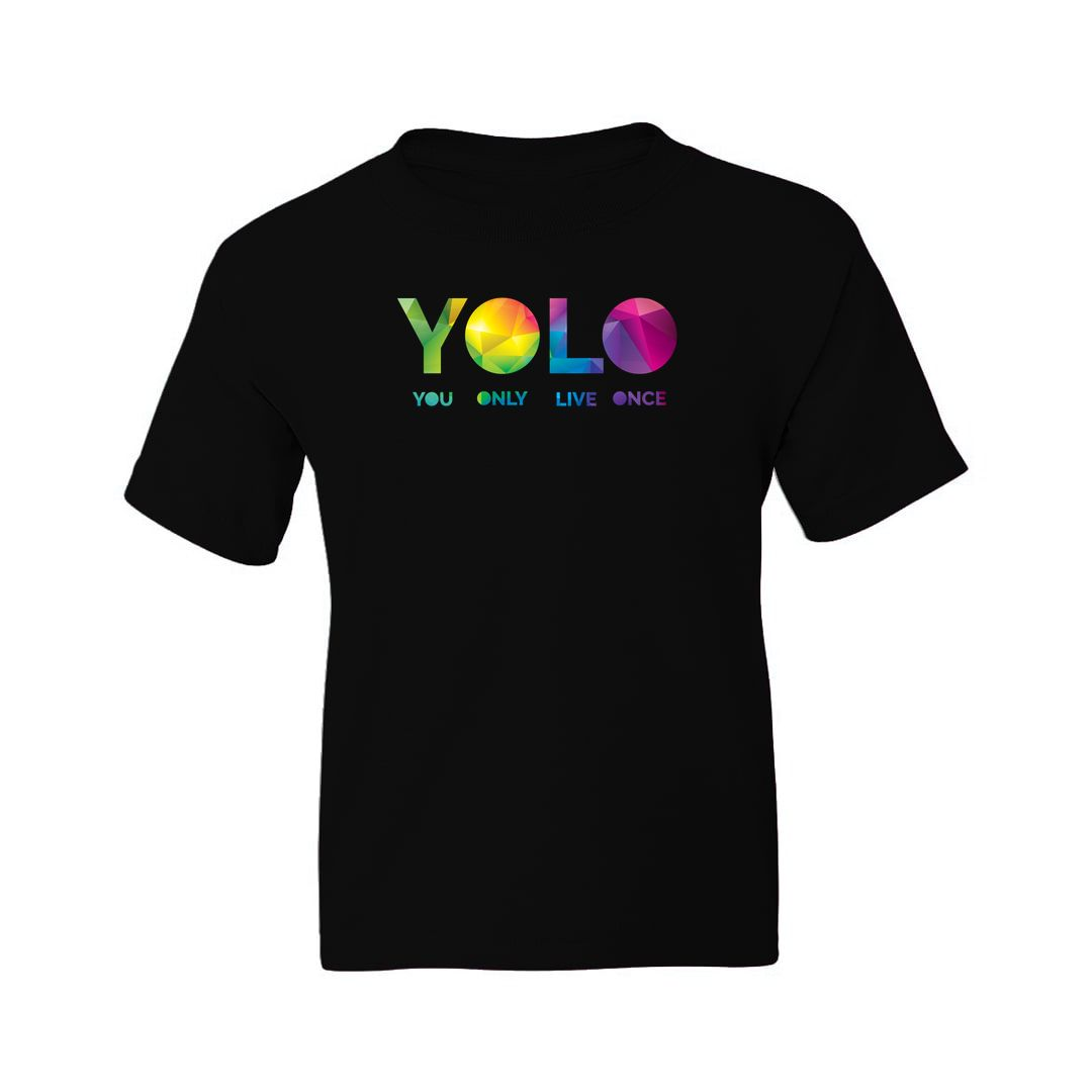 D687f91d Yolo – You Only Live Once Kids T Shirt Black Front