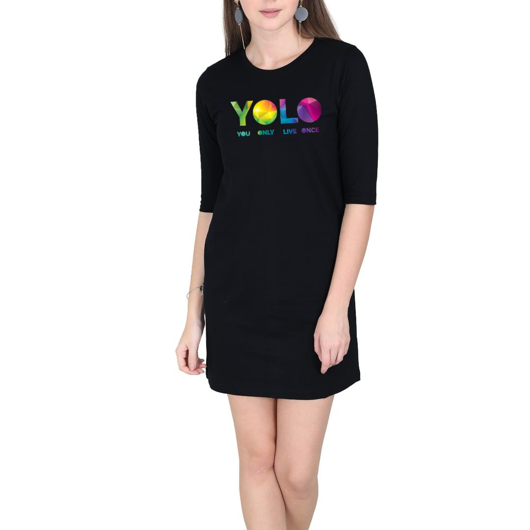 D687f91d Yolo – You Only Live Once Women T Shirt Dress Black Front