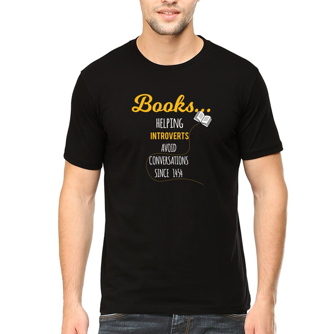 D8585bd9 Books – Helping Introverts Avoid Conversations Since 1454 Men T Shirt Black Front