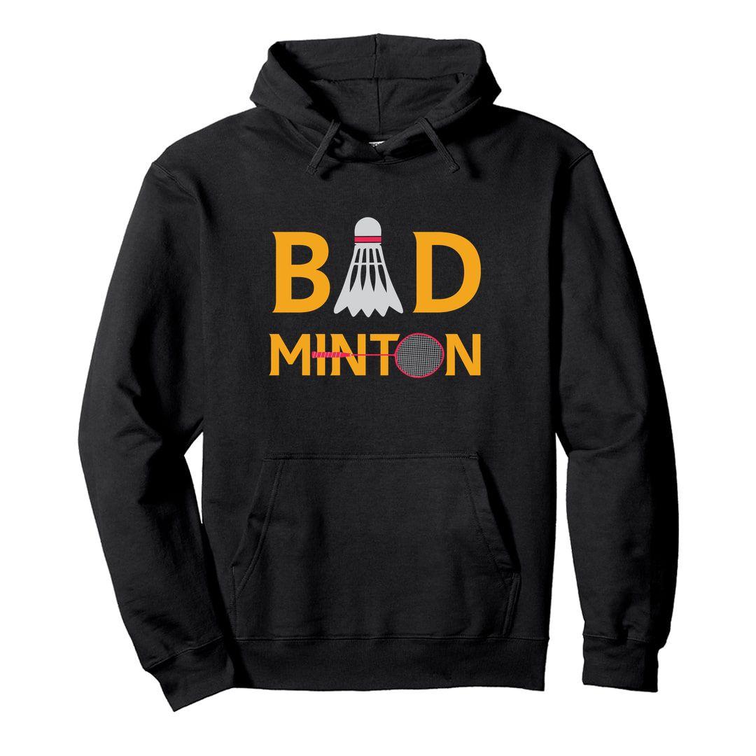Da27ffe6 Bad Minton Unisex Hooded Sweatshirt Hoodie Black Front