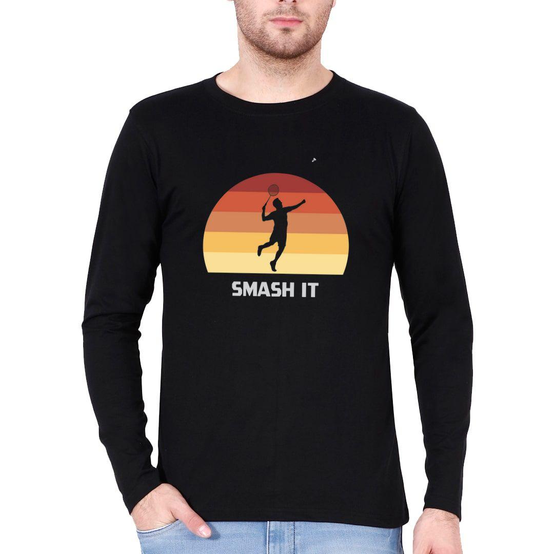 E1499407 Smash It Retro Vintage Style Full Sleeve Men T Shirt Black Front