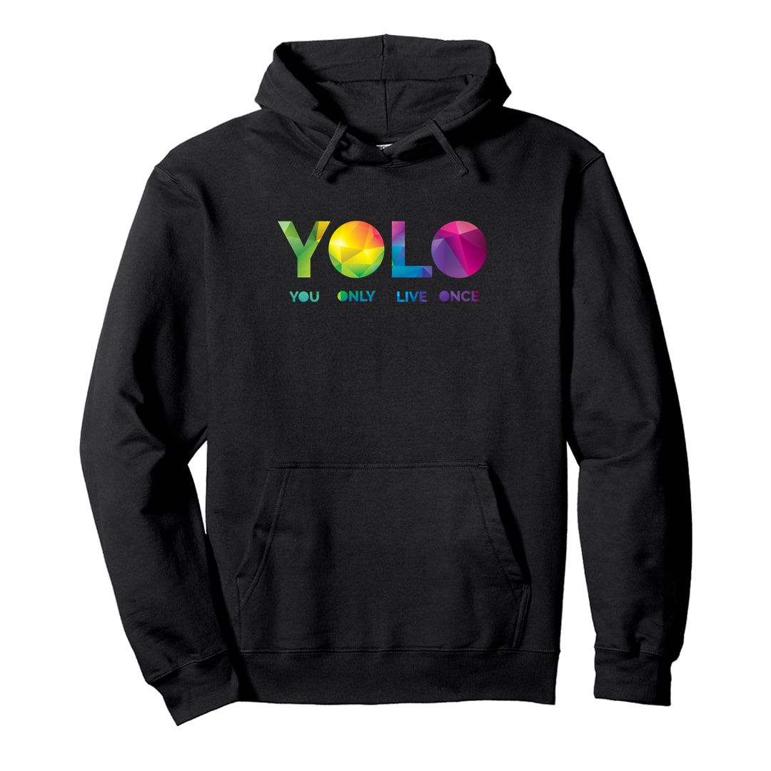 E177efca Yolo – You Only Live Once Unisex Hooded Sweatshirt Hoodie Black Front