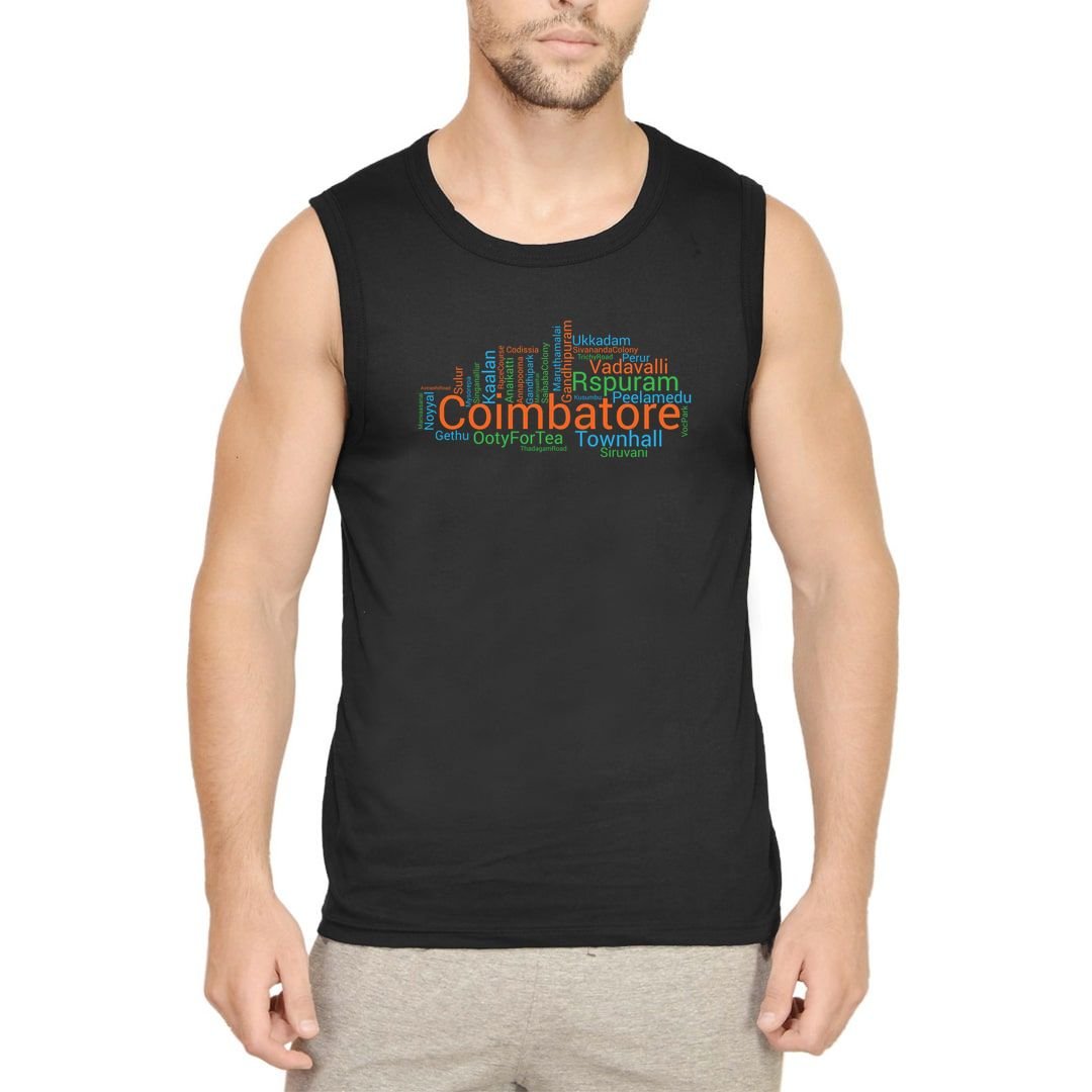 E5f70b8f Coimbatore Places Foods And Attractions Word Cloud Men Sleeveless T Shirt Vest Black Front