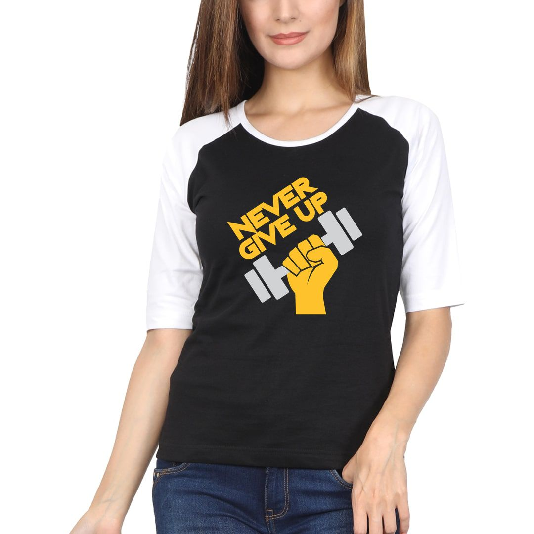 E8c8acc2 Never Give Up Women Raglan Elbow Sleeve T Shirt White Black Front