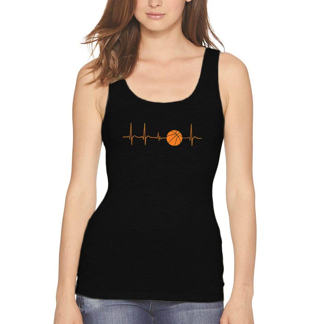 Eb22115b Basketball Its In My Heartbeat Women Tank Top Black Front