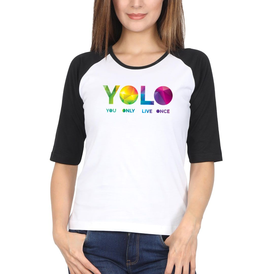 F51fc94a Yolo – You Only Live Once Women Raglan Elbow Sleeve T Shirt Black White Front