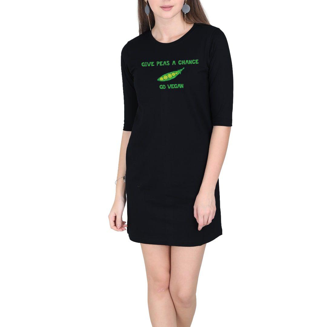 F73365ca Give Peas A Chance – Go Vegan Women T Shirt Dress Black Front