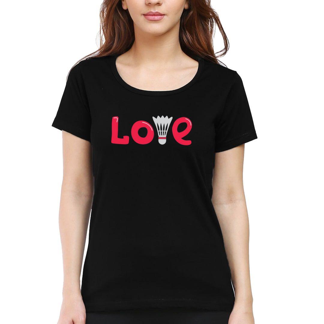 F82111ca Love Badminton Women T Shirt Black Front