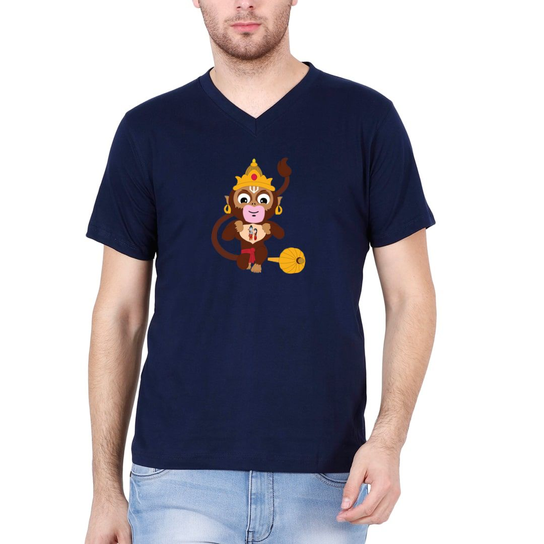 01a483e5 Cute Hanuman With Lord Ram And Sita Men V Neck T Shirt Navy Front