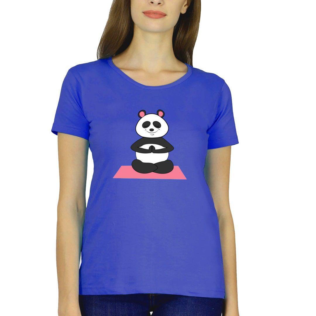 06beb414 Cute Panda In Deep Yogic Meditation Women T Shirt Royal Blue Front
