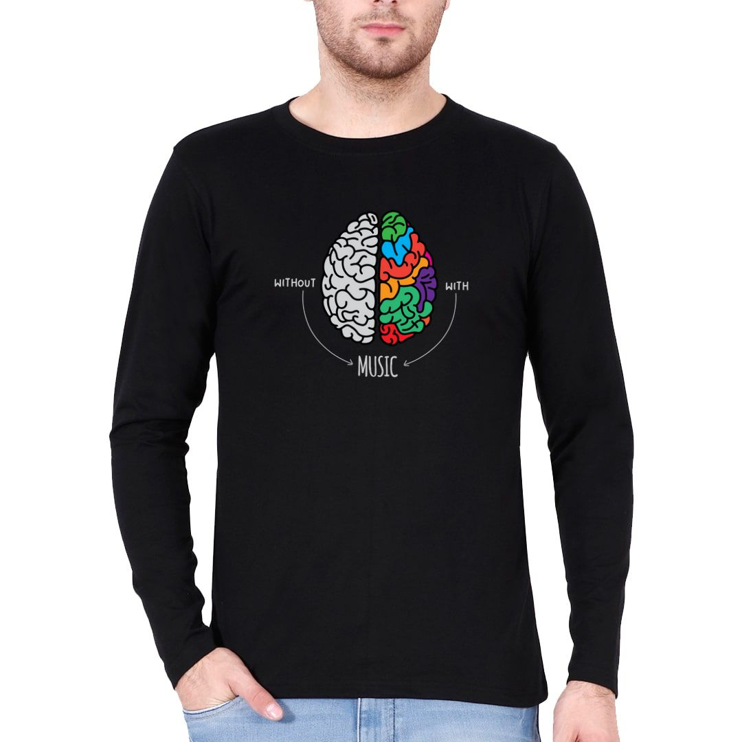 0e9f89ca Live Life Colourfully With Music Full Sleeve Men T Shirt Black Front