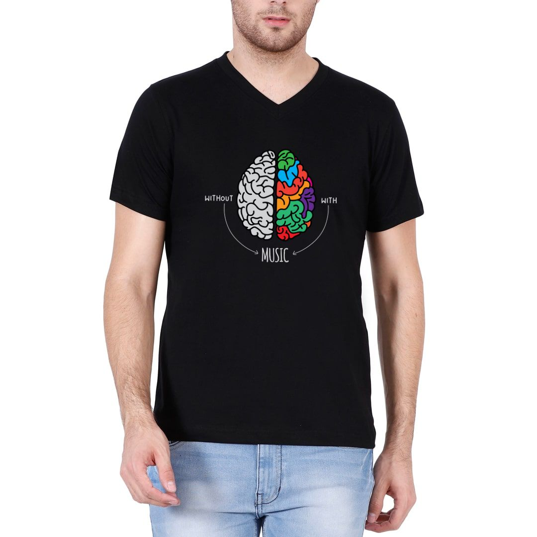 0e9f89ca Live Life Colourfully With Music Men V Neck T Shirt Black Front