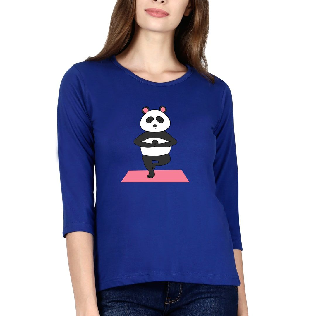 0f50ef99 Cute Panda Doing Yoga And In Deep Meditation Elbow Sleeve Women T Shirt Royal Blue Front