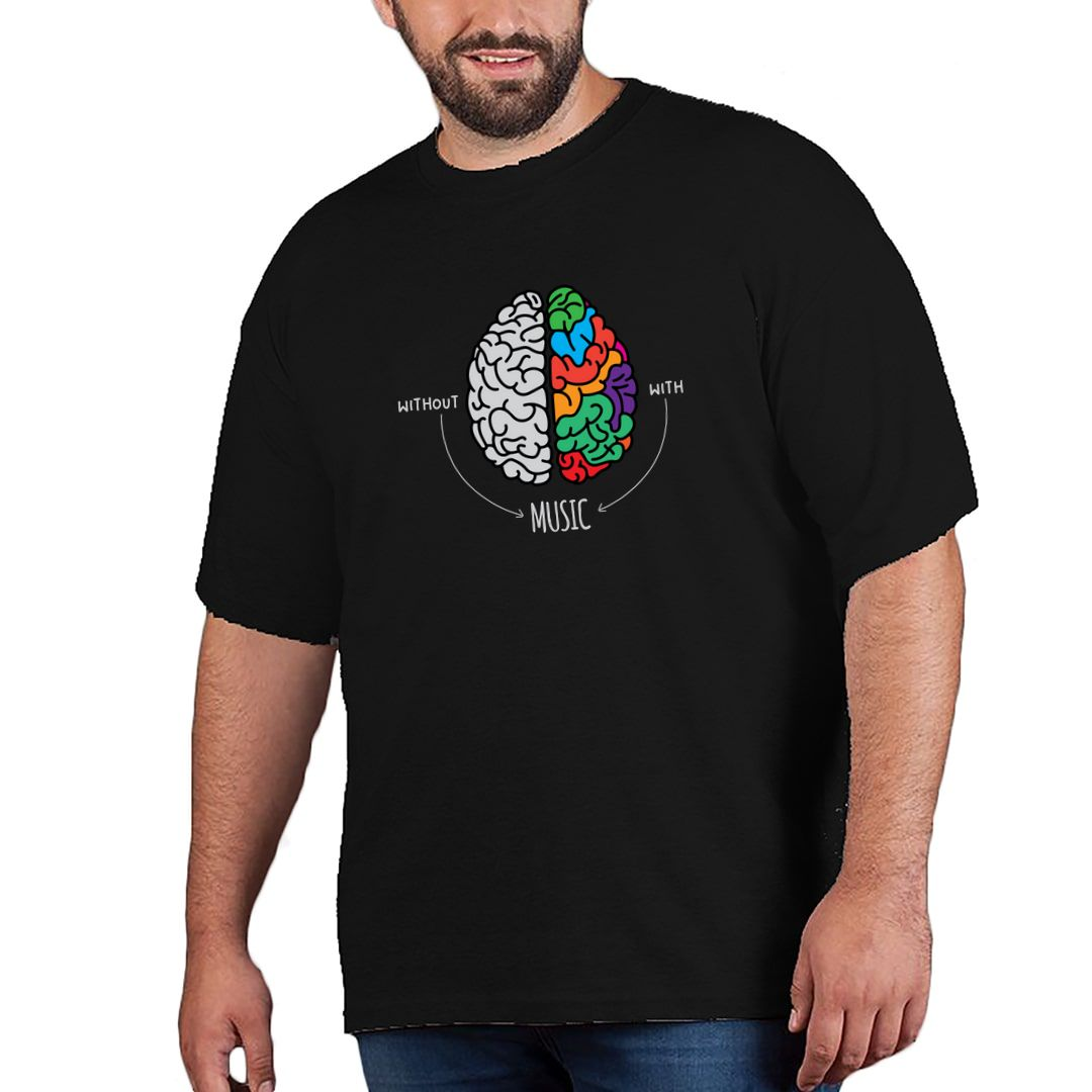 10e85009 Live Life Colourfully With Music Plus Size T Shirt Black Front