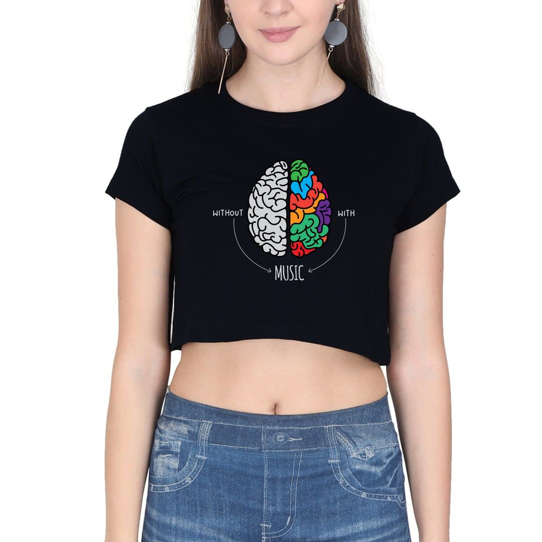 10e85009 Live Life Colourfully With Music Women Crop Top Black Front
