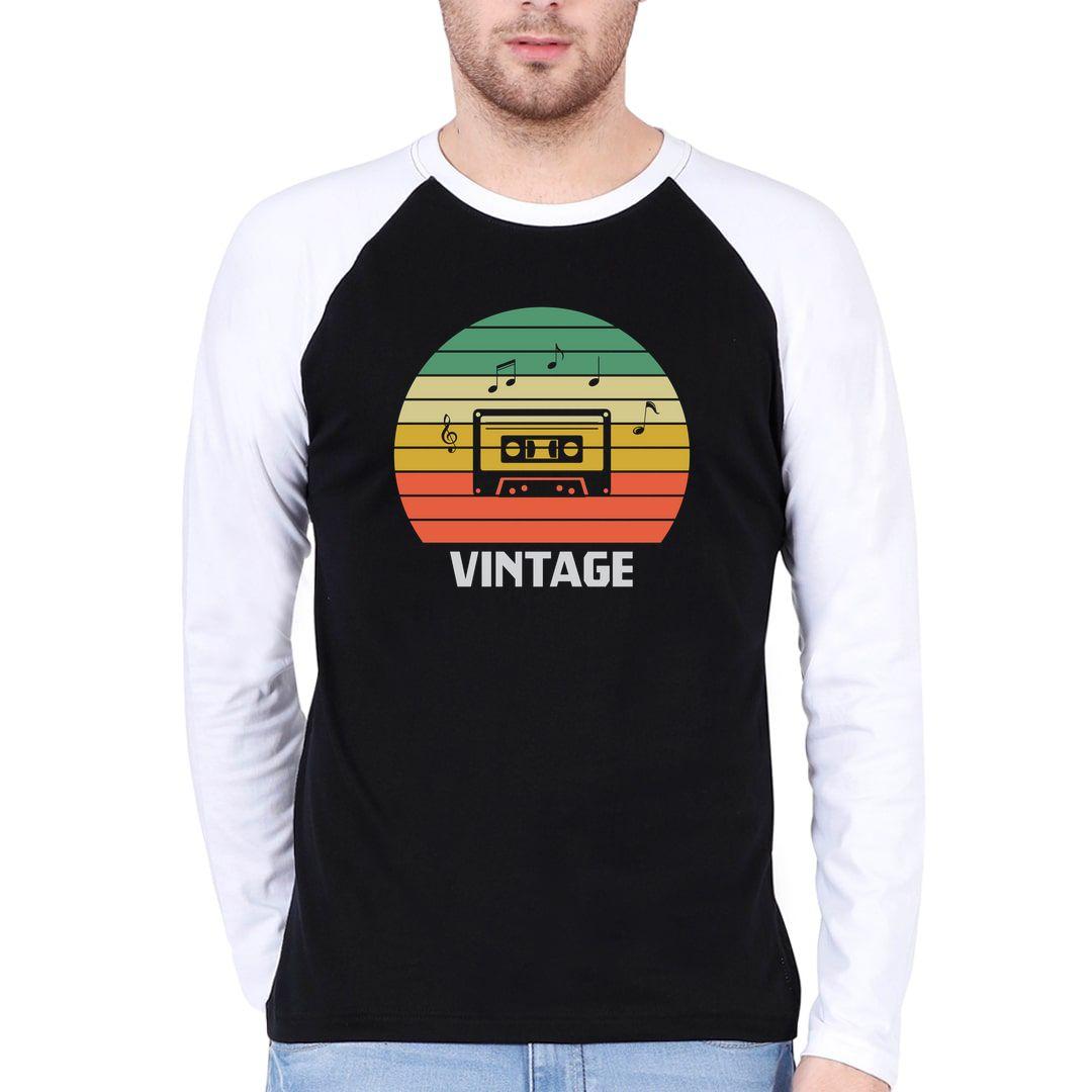 1178c61b Vintage Music 80s 90s Music Lover Men Raglan Full Sleeve T Shirt White Black Front