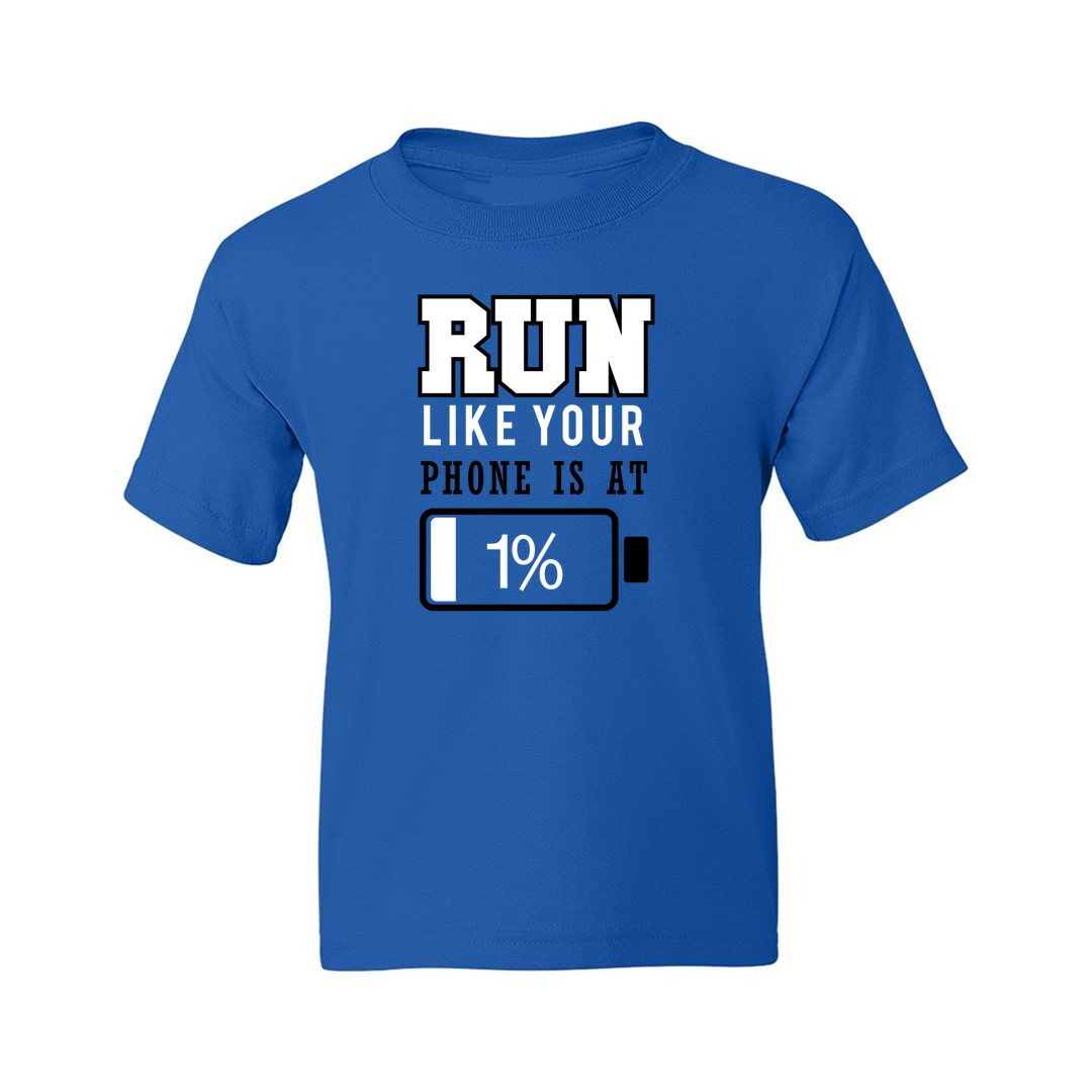 1305601b Run Like Your Battery Is At 1 Percent Kids T Shirt Royal Blue Front