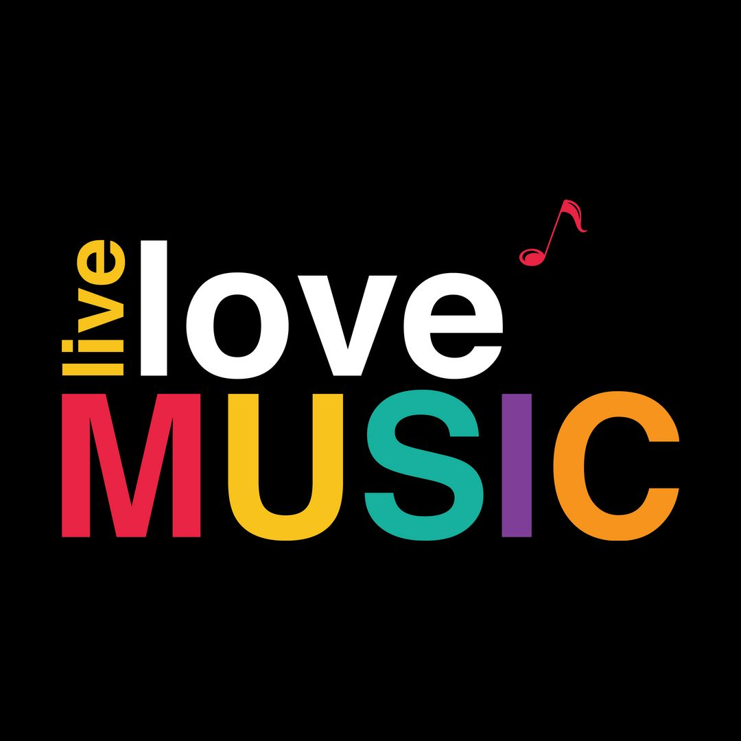 14ec9b3a Live Love Music Colourful Typography Black
