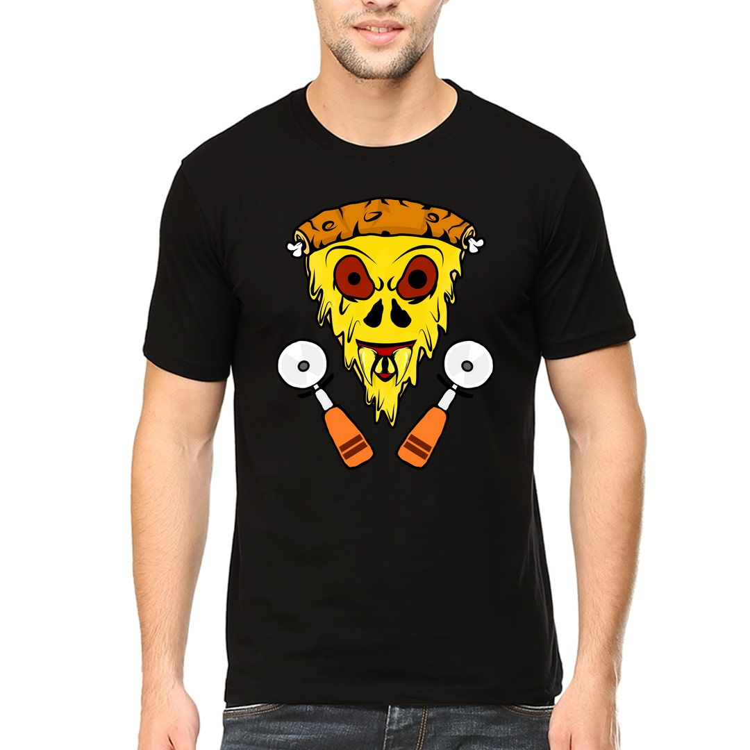 1cd12c0f Scary Cheesy Pizza Slice With Pizza Cutter Men T Shirt Black Front