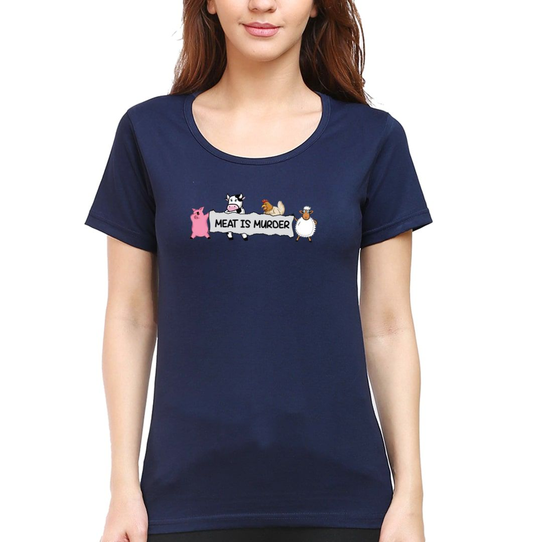 221209ad Meat Is Murder Women T Shirt Navy Front