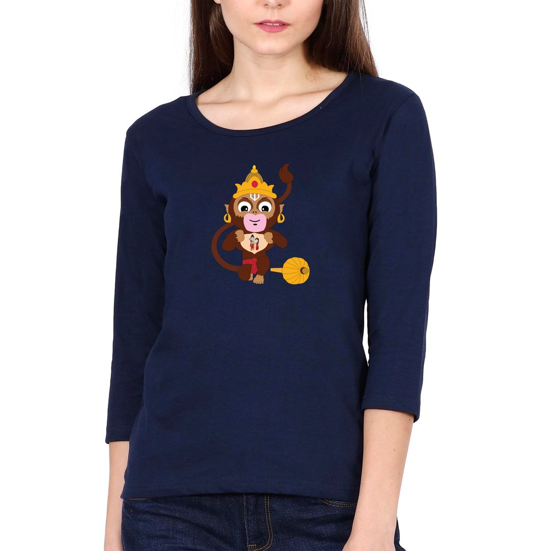 2281178d Cute Hanuman With Lord Ram And Sita Elbow Sleeve Women T Shirt Navy Front
