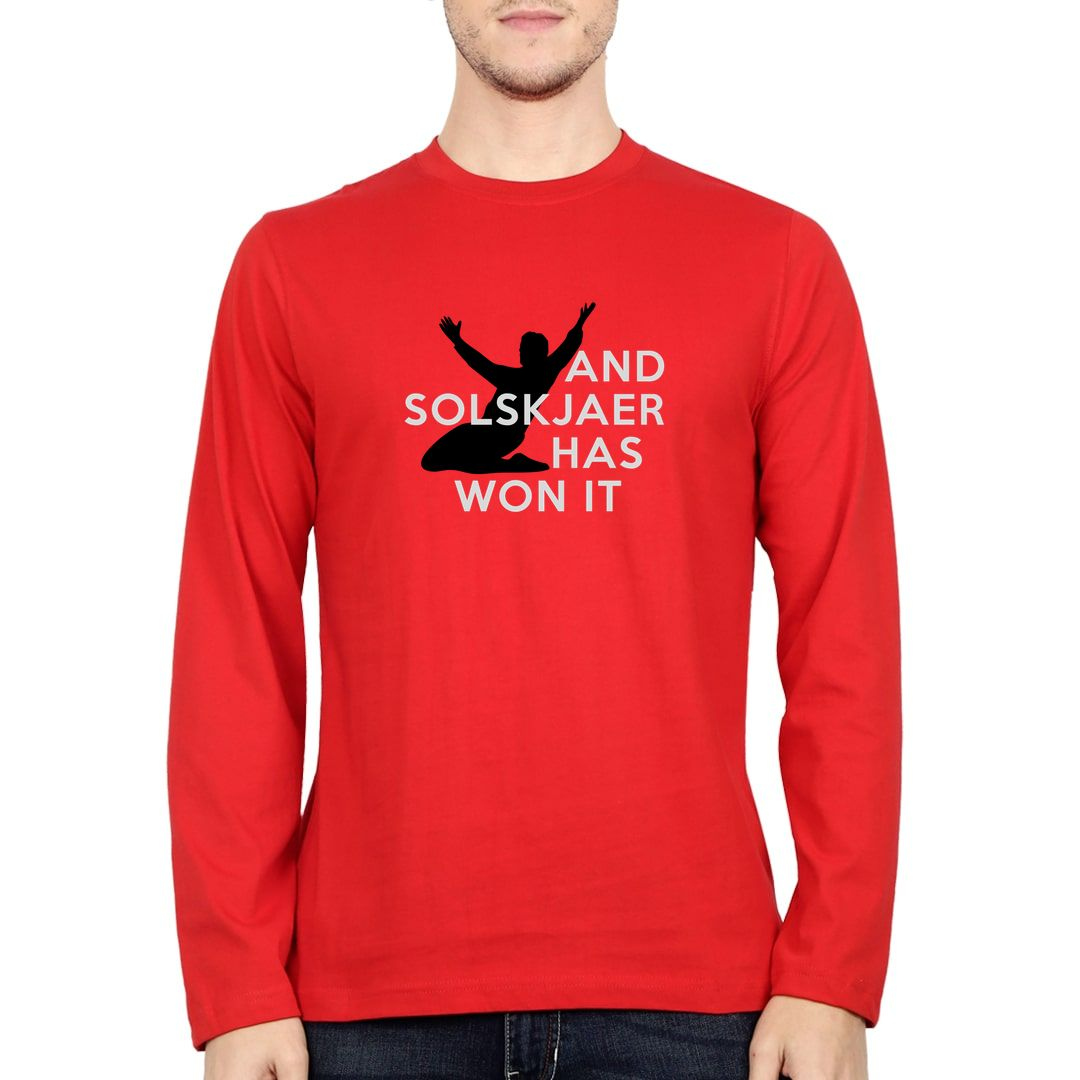 2321d536 And Solskjaer Has Won It Full Sleeve Men T Shirt Red Front