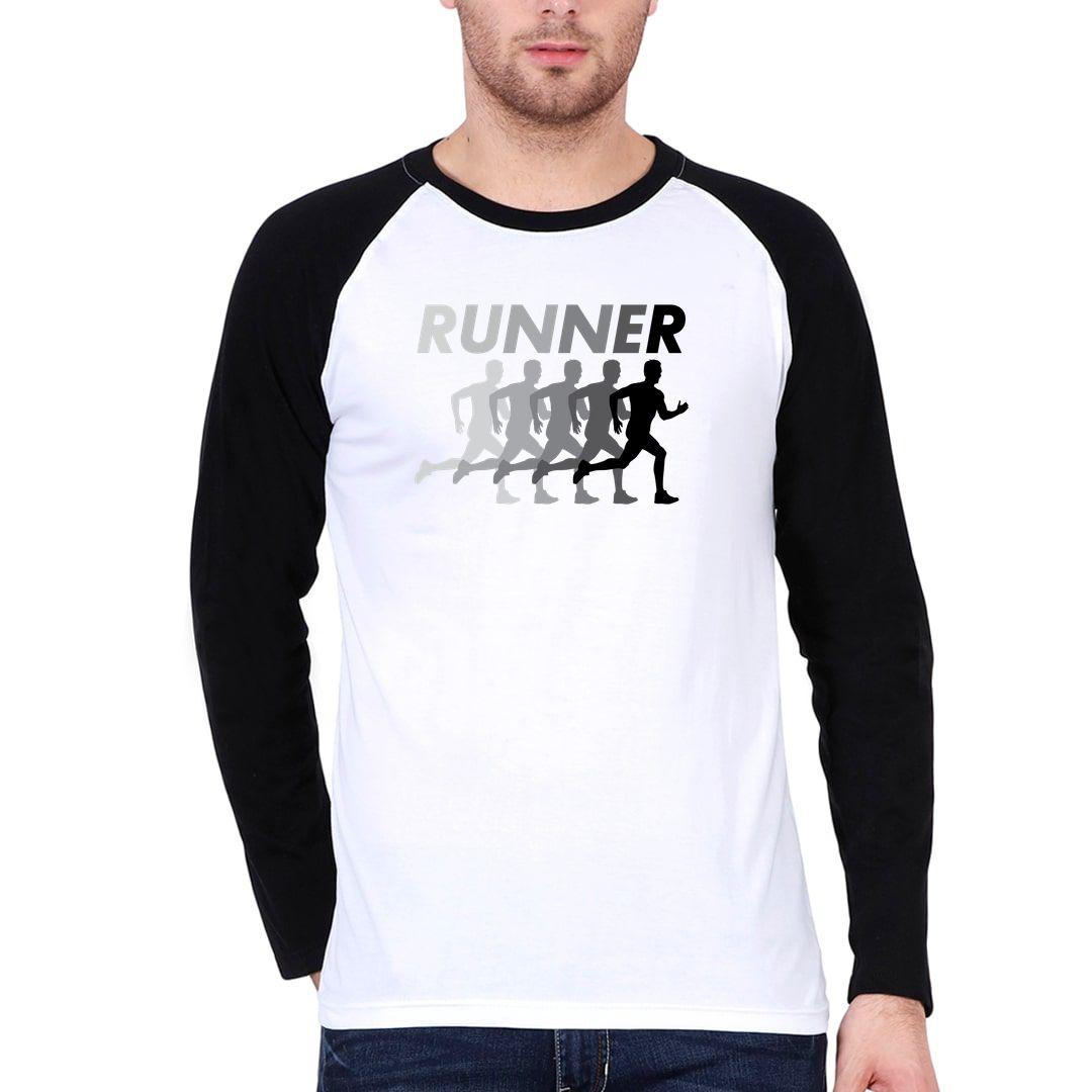 3030322b Runner Men Raglan Full Sleeve T Shirt Black White Front