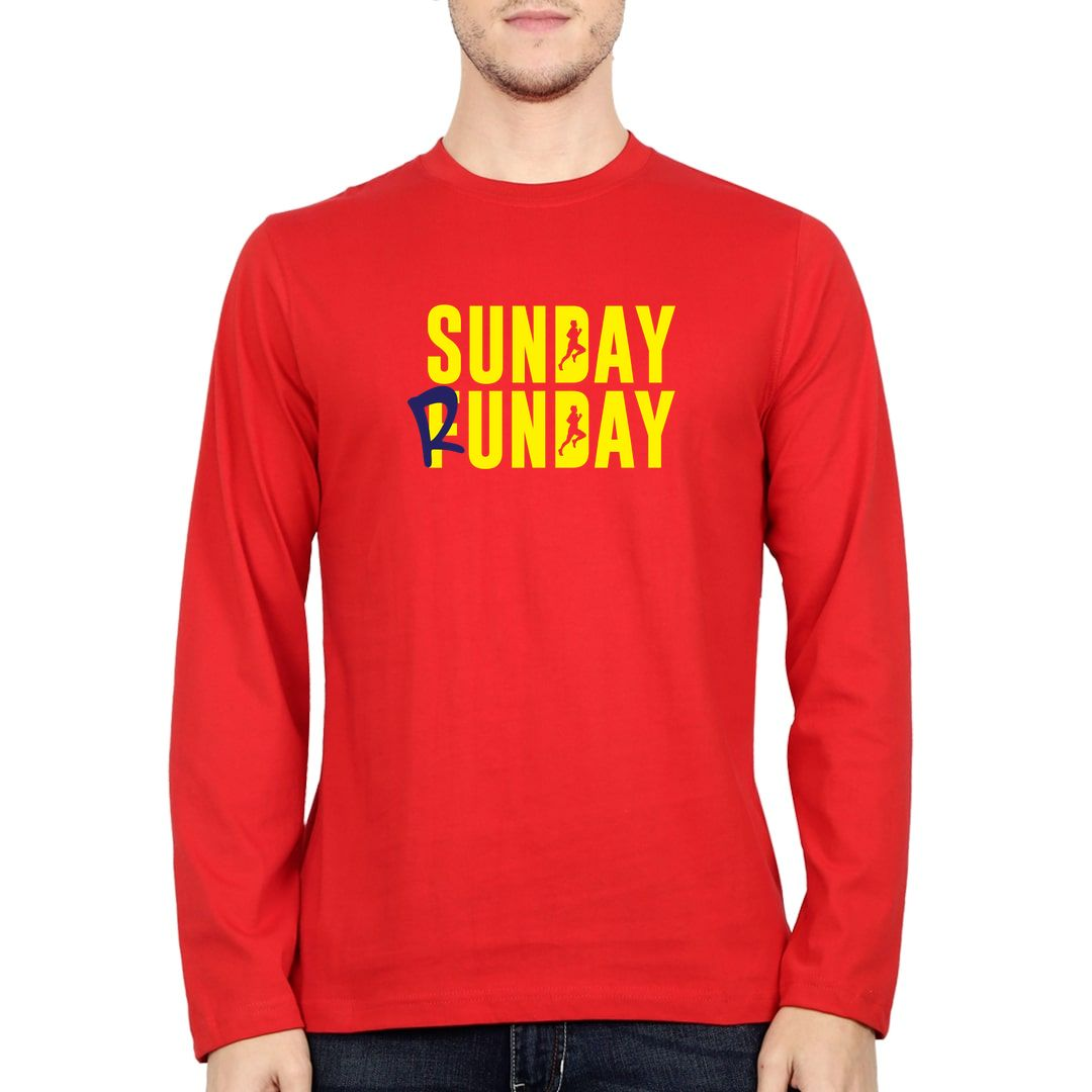 396c93a3 Sunday Runday Full Sleeve Men T Shirt Red Front